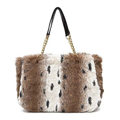 Otomoll Weibliche Koreanische Fashion Handtasche Tasche Winter Kette Tasche Umhängetaschen Light leopard print color