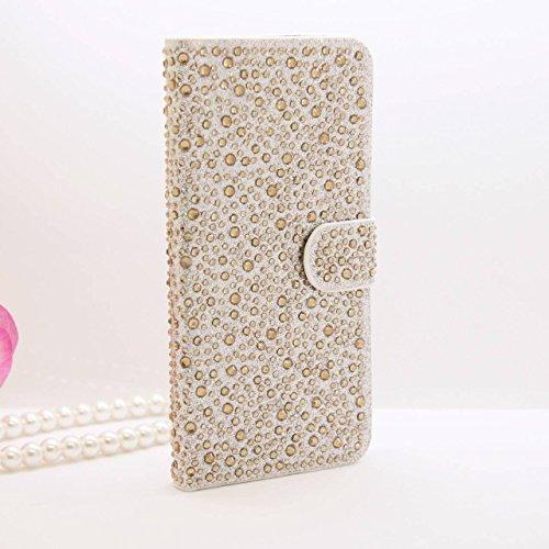 iPhone 6Plus/6S Plus Schutzhülle, by jabit Regentropfen Diamant Fällen-Kristall Bling Strass Wallet PU Leder Schutzhülle Hard Case Cover SCHUTZHÜLLE 5Farben, Gold
