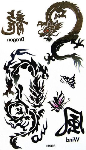 Faux faux tatouages mot étanche dragons totémique