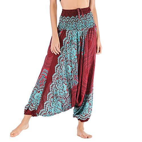 leidung yogahose Turban Damen Frauen Casual Sommer lose Yoga Hose Baggy Boho Aladdin Overall Harem Hosen orientalisch ()