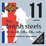 Rotosound British Steels Jeu de cordes pour guitare électrique Acier inoxydable Tirant medium (11 14 18 28 38 48) (Import Royaume Uni)