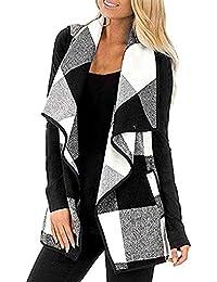 BURFLY Women Vest Plaid Sleeveless Cardigan Lady Woolen Checkred Jacket