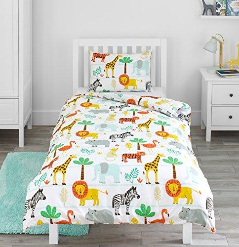 Bloomsbury Mill - Safari Abenteuer - Dschungel Tiere - Kinderbettwäsche Set - Junior / Kleinkind / Kinderbett Bettwäsche Set und Kopfkissenbezug (Safari Bettbezug-set)