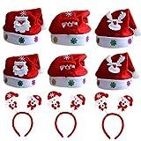 HU Fun life 9 Pack de Gorro navideño, Diadema navideña para niños y Adultos, Banda de Pelo de Peluche y cómoda