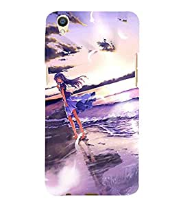For Oppo F1 Plus :: Oppo R9 cute girl, girl, beautiful girl, cartoon, sea Designer Printed High Quality Smooth Matte Protective Mobile Case Back Pouch Cover by APEX