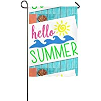 Goden jinhua Garden Flag Hello Summer Spring Summer Decorative House Small Decor Flags For Indoor Outdoor Decoration,12 X 18 Inch/18 X 27 Inch