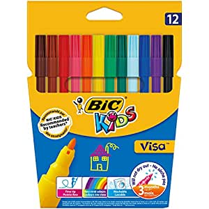 BIC Kids Visa Felt Pens - Assorted Colours, Wallet of 12