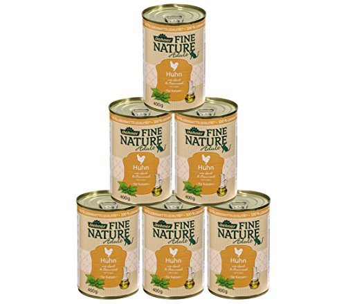 Dehner Fine Nature Katzenfutter Adult, Lebensmittelqualität, Huhn, 6 x 400 g (2400 g)