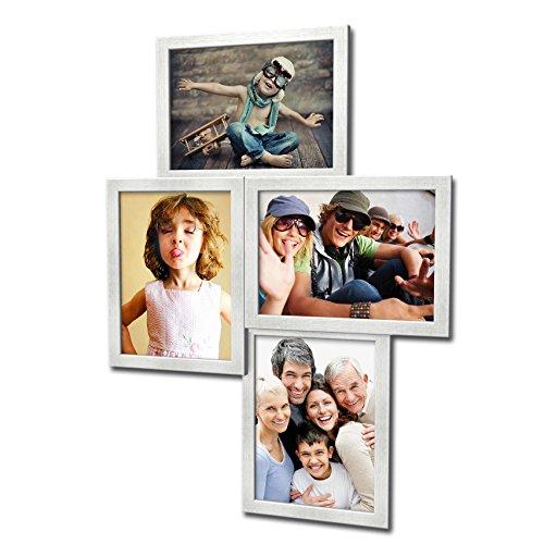406 Fotogalerie für 4 Fotos 13x18 cm - 3D Optik - Bilderrahmen Bildergalerie Fotocollage Rahmenfarbe Silber gebürstet (Foto-rahmen-16x16)