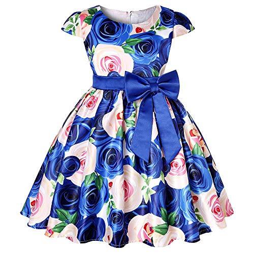 Tonsee Prinzessin Kleider für Mädchen Blume Print Partykleid Hochzeit Minikleid Asymmetrisch Patchwork Ballkleid Abendkleid Ärmelloses Festlich Kostüme und Geschenk Kinderkleidung mit Bow Gürtel (Kostüm Für Fünf Jährige)