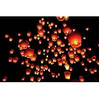 Kawin 100 Farolillos Volantes Lámparas voladoras Color Blanco Sky Lantern Linternas Blanca