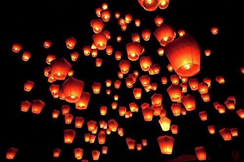 20 Farolillos Volantes Color Blanco Lámparas voladoras Sky Lantern Linternas Blanca