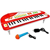Toyshine 37 Keys Piano, With DC Power Option, Mini Table Stand, Microphone, Recording, Red