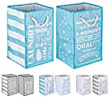 TOPP4u Wäschesammler, Wäschekorb blau - weiß 2er Set, 4 tolle Designs, Vintage, faltbarer Wäschesack mit 45 Ltr, 30x30x50 cm, langlebige und praktische Wäschebeutel