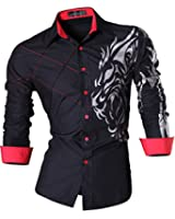 jeansian Homme Chemises Casual Shirt Tops Mode Men Slim Fit 2028