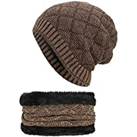 LILICAT❋ Conjunto de Cuello de Sombrero de Punto cálido, para Conjunto de Bufanda con Gorro de Invierno de 2 Piezas Conjunto Sombrero de Punto cálido Gorro de cráneo de Punto Grueso Unisex