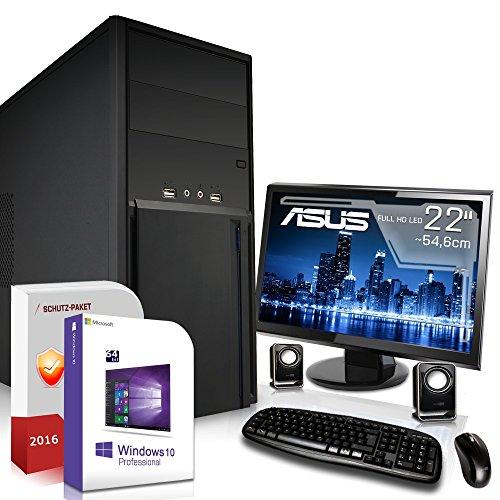 Komplett PC Set Office / Multimedia inkl. Windows 10 Pro 64-Bit! - Quad-Core Intel Celeron J1900 4x 2,4GHz - Intel HD Graphics - ASUS 22 Zoll TFT Monitor - 4GB DDR3 RAM - 500GB HDD - 24-fach DVD Brenner - Lautsprecher - Tastatur + Maus - USB 3.0 - Computer mit 3 Jahren Garantie!