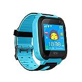 TDH Niños Inteligente Relojes, GPS Kids SmartWatch con Camara, Flash luz, SOS, nocturna pantalla táctil, Reloj Inteligente Anti - Lost Smart tracker Pulsera Compatible para iPhone Android, Azul