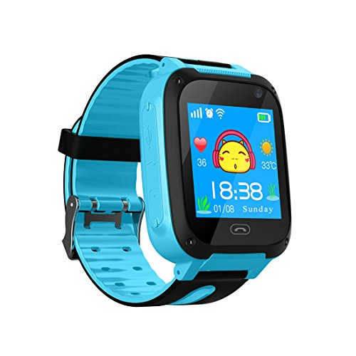 TDH Niños Inteligente Relojes, GPS Kids SmartWatch con Camara, Flash luz, SOS, nocturna pantalla táctil, Reloj Inteligente Anti - Lost Smart tracker Pulsera Compatible para iPhone Android, Azu