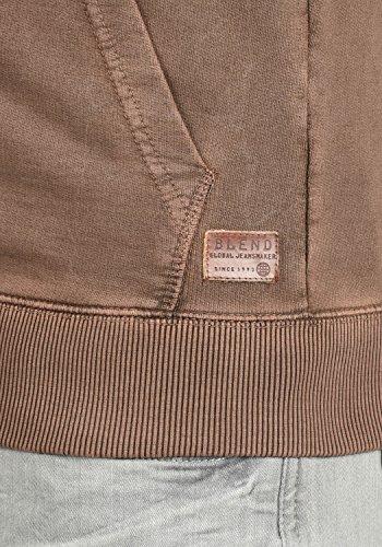 BLEND Itaschi Herren Sweatjacke Kapuzen-Jacke Zip-Hood aus 100% Baumwolle Coffee Brown (75103)