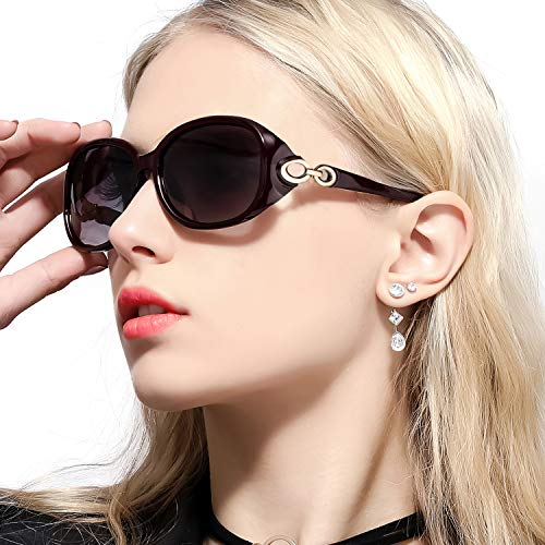 FIMILU Sonnenbrillen Damen Übergroß, Retro Designer-polarisiert Brille Frauen, 100% UVA/UVB Schutzle Frauen