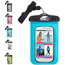 SwimCell 100% Waterproof Case For Phone, Camera, Money, Keys. Blue. High Quality. Tested to 10M. Certified IPX8. Fits Most Phones 10cm x 15cm and up to 6.5 inch screen. Waterproof case for iphones (not 6 plus), Samsung Galaxy S3, S4, S5, Note 3, LG G2, Nokia 1020, Nexus 5, HTC One, Blackberry Z30, Windows 8X. Very Easy To Use, Neck Strap Included. Black, Pink, Blue and White (Blue) SCBL01. Larger size also available.