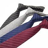 jieyou Krawatte 7 cm in verschiedenen Farben, für Hochzeit Buisness (Dunkelgraue Streifen)