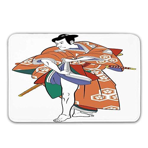 Unsere Nicht Sind Kulturen Kostüm - Kabuki Maskendekoration Gummiunterlage Rutschfeste Fußmatten, Kabuki Schauspieler mit Traditionellem Kostüm Historisches Edo-Zeitalter Drama Kultur Dekorative Fußmatte Fußmatten Teppiche Badematte