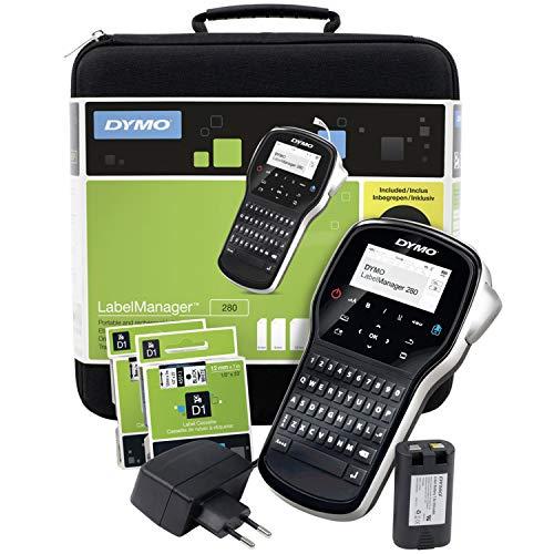 DYMO LabelManager 280 Wiederaufladbares Handheld-Etikettendrucker-Set, QWERTY-Tastatur, mit 2 Rollen D1-Etiketten und Tragetasche