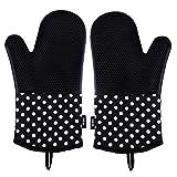 DEIK gants de cuisson Mitaines de four 300 °C Gant Barbecue, Gants de cuisine anti chaleur resistant en silicone pour barbecue, cuisine, grillade, Noir, 1 paire