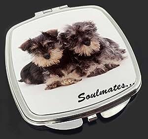 Schnauzer-Welpen Hunde 'Soulmates' Make-up Taschenspiegel Weihnachtsgeschenk