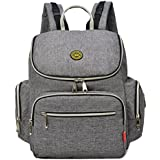 Aidonger Diaper Bag Backpack With Clips Large Capacity Fit Stroller (Gray)
