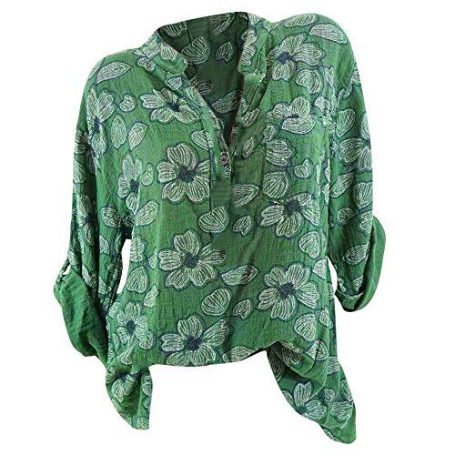 NPRADLA Tops Damen Sommer Plus Size Chiffon Blumendruck Langarm Bluse Pullover Tops Shirt