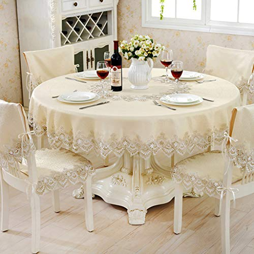 Couverture de table brodée par damassé de table ronde de dentelle d'or avec la nappe élégante imprimée florale de jacquard pour la décoration intérieure (taille : 150cm(round))
