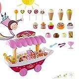 Tomasa Eiswagen Spielzeug, Eiscreme Süßigkeits Rollenspiel mit Musik und Blitzlicht, Kinder Eiscreme Shop-Warenkorb Spielzeug Set (37pcs/Rosa)