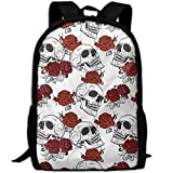 best& Stylish Roses Gothic Skull Laptop Backpack School Backpack Bookbags College Bags Daypack