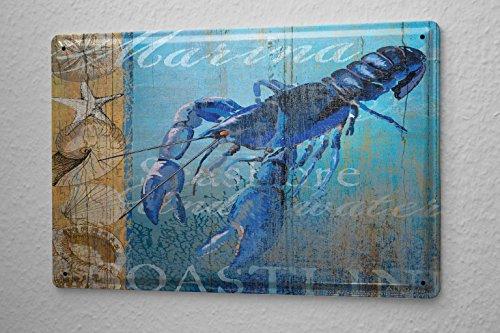 Blechschild Küchen Deko Lobster Muscheln Seesterne Metall Wand Schild 20X30 cm
