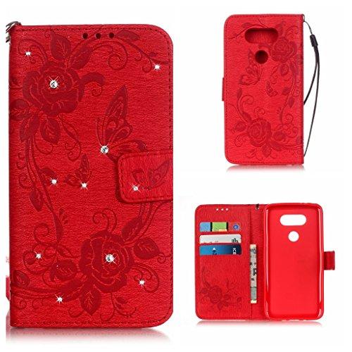 BoxTii® - Custodia a portafoglio con aletta di chiusura, in finta pelle di notevole qualità decorata con diamanti finti, dotata di cover protettiva in silicone, inserti per carte di credito e monete,  #1 Red