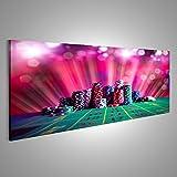 Bild Bilder auf Leinwand Poker Chips auf einem Spieltisch mit dramatischer Beleuchtung Verschiedene Formate ! Direkt vom Hersteller ! Bilder ! Wandbild Poster Leinwandbilder ! FUA