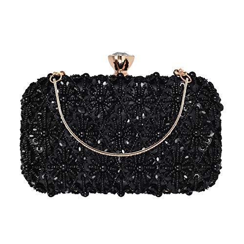 BAIGIO Abendtasche Damen Glitzernd Clutch Bag Handtasche Umhängetasche mit Perlen und Pailletten für Hochzeit Party (Schwarz) -