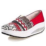Minika Solshine Damen Keilabsatz Plateau mit Mustern Loafers Sneaker Bequeme Laufschuhe, Rot, Gr. 39