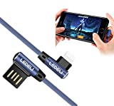 LEDELI Winkelstecker Winkel Stecker Kabel 90 Grad geknickt Nylon Gamer Ladekabel Schnellladekabel Ladegerät 2A Datenkabel Degree USB Cable für Smartphone Tablet Power Bank/ DJI Mavic Pro/ PS4 / Xbox / PS Vita / Nintendo DS / GoPro / GPS-Geräte / Akkus / Bluetooth Lautsprecher / Wireless Keyboards / Foto / Camcorder / Spielekonsolen / Festplatten / E-Reader / Drucker. (Lighthing für Apple)