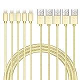 Lebensdauer, ankelectric 3ft 1m, Lightning-auf-USB-Kabel, Ladekabel, Datenkabel, USB-Anschluss, für iPhone 8/8Plus/X/7/7Plus/6S/6Plus/SE/5S und mehr Weiß 1.5M Braid/Gold/5 Pack