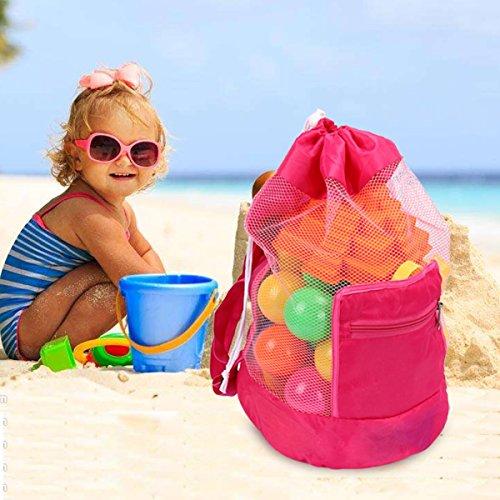 Latinaric 1pc Sand Strand Tasche Netztasche Sandspielzeug Aufbewahrungstasche für Kinder Blau
