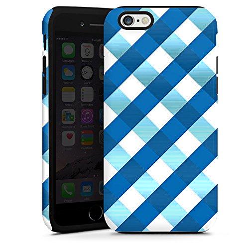 Apple iPhone 5s Housse Étui Protection Coque Carreau Bleu Bleu Cas Tough terne