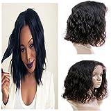 "[35% Off]Yiya 16"" 7A Bob Wavy Brazilian Virgin Human Hair Wig Natural Wave Lace Front Wigs Glueless Full Lace Front Wig with Baby Hair Negro Natural"