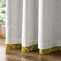 "Orla Kiely Leaf STEM Dandelion Yellow Cream 46"" X 54"" - 117CM X 137CM Ring TOP Curtains from Orla Kiely"