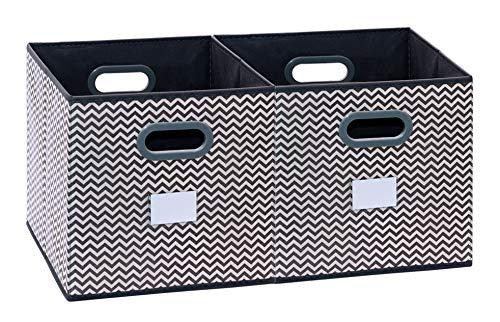 faltboxen stoff homyfort 2 Stück Faltbare aufbewahrungsbox stoffbox faltbox mit Kunststoffgriff 30 x 30 x 30 cm Grau/Weiß Zickzack XBB02P