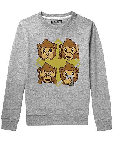 BLAK TEE Cute Monkey Reaction Faces Illustration Unisex Damen Herren Pullover Sweatshirt