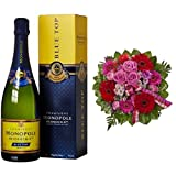 Monopole Heidsieck Blue Top Brut Champagner + Blumenstrauß Falling in Love